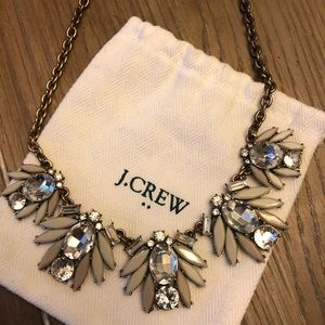 J. Crew Statement Necklace in Crystal & Tan
